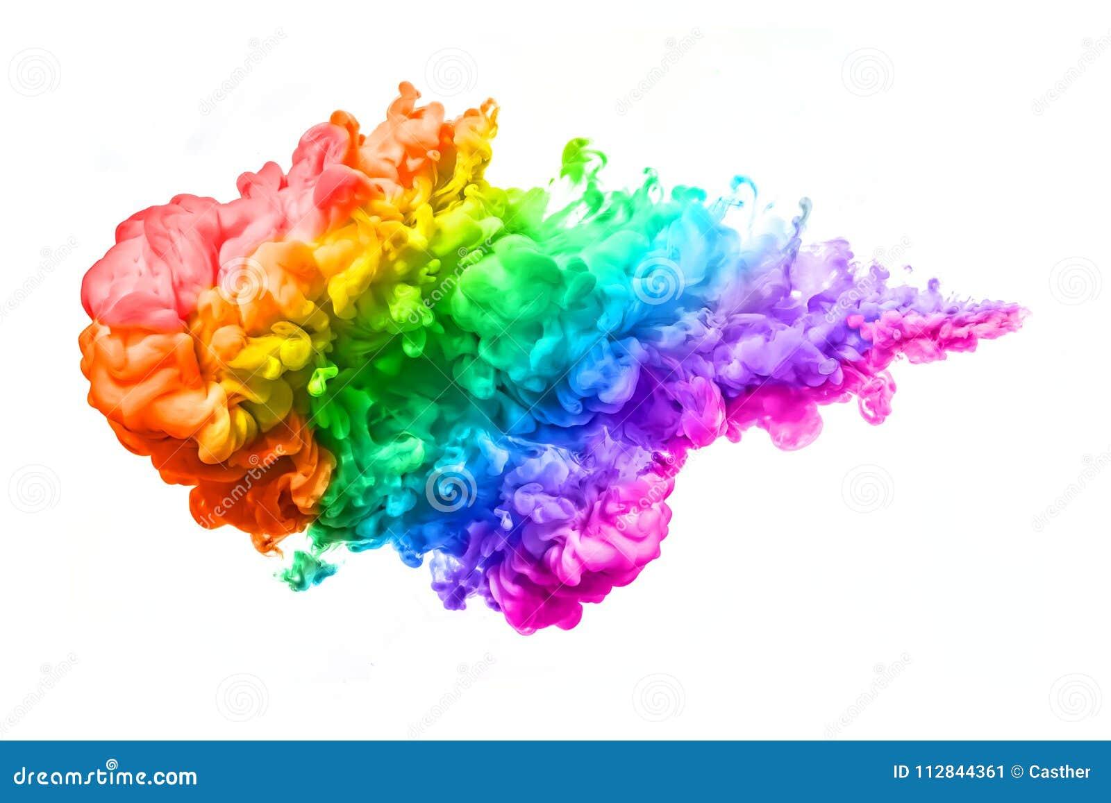 Regenbogen der Acryltinte im Wasser Abstrakte strukturierte Fractals