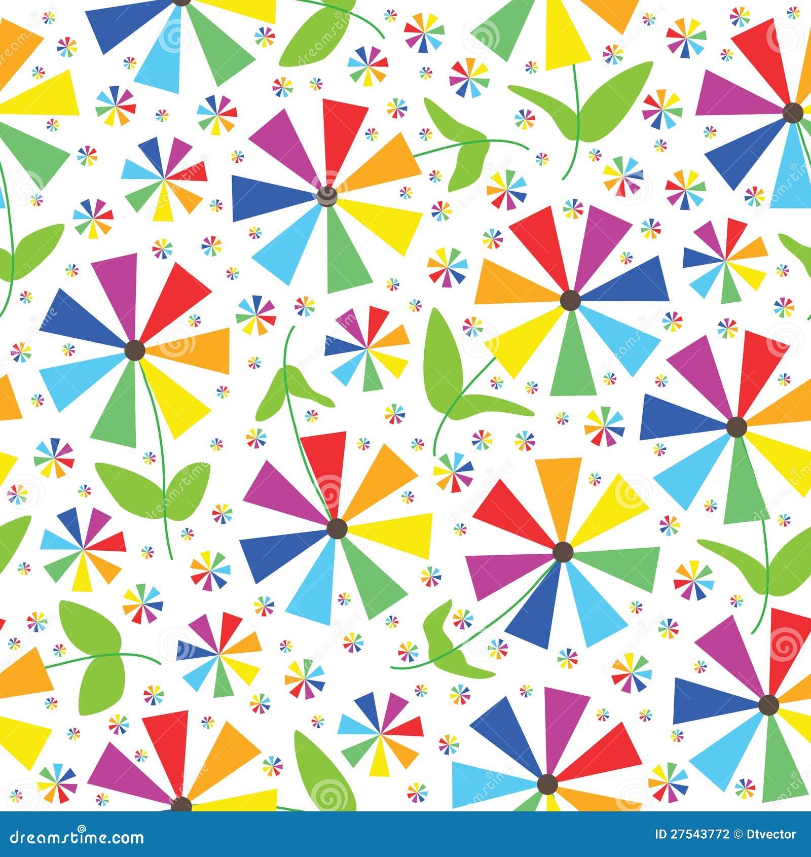 Regenbogen färbt Blumen-nahtloses Muster