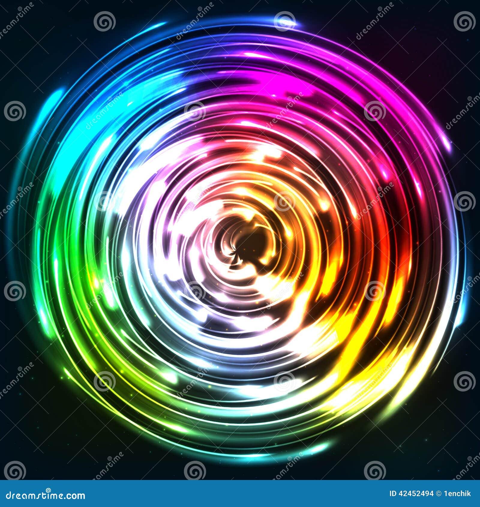 Regenbogen färbt glänzende Neonlichtdiskette