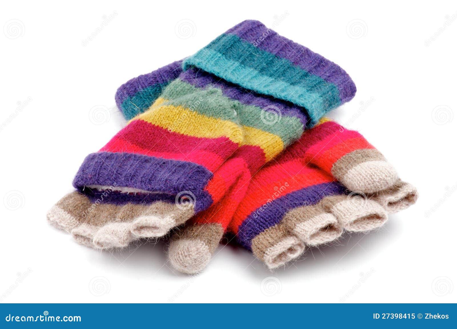 regenbogen gestreifte handschuhe mit den fingern lizenzfreies stockfoto bild 27398415. Black Bedroom Furniture Sets. Home Design Ideas