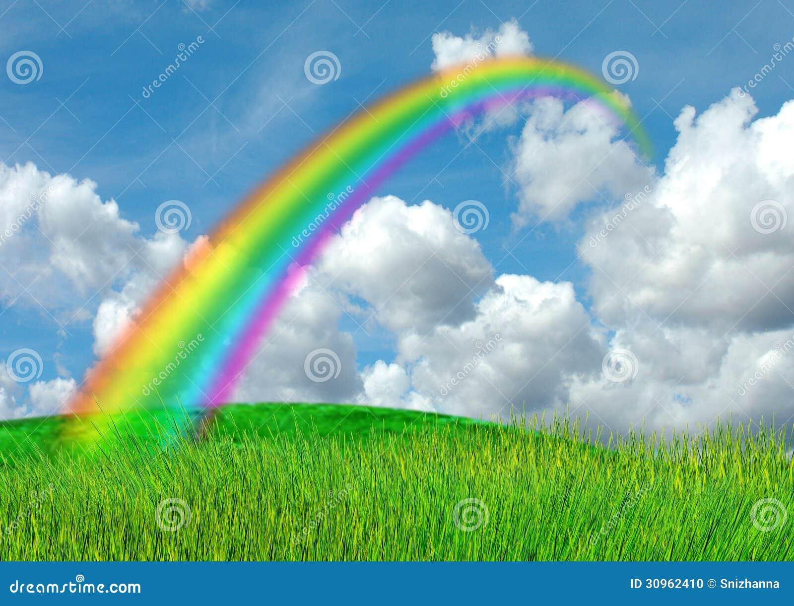 regenbogen im blauen himmel stockfoto  bild von himmel