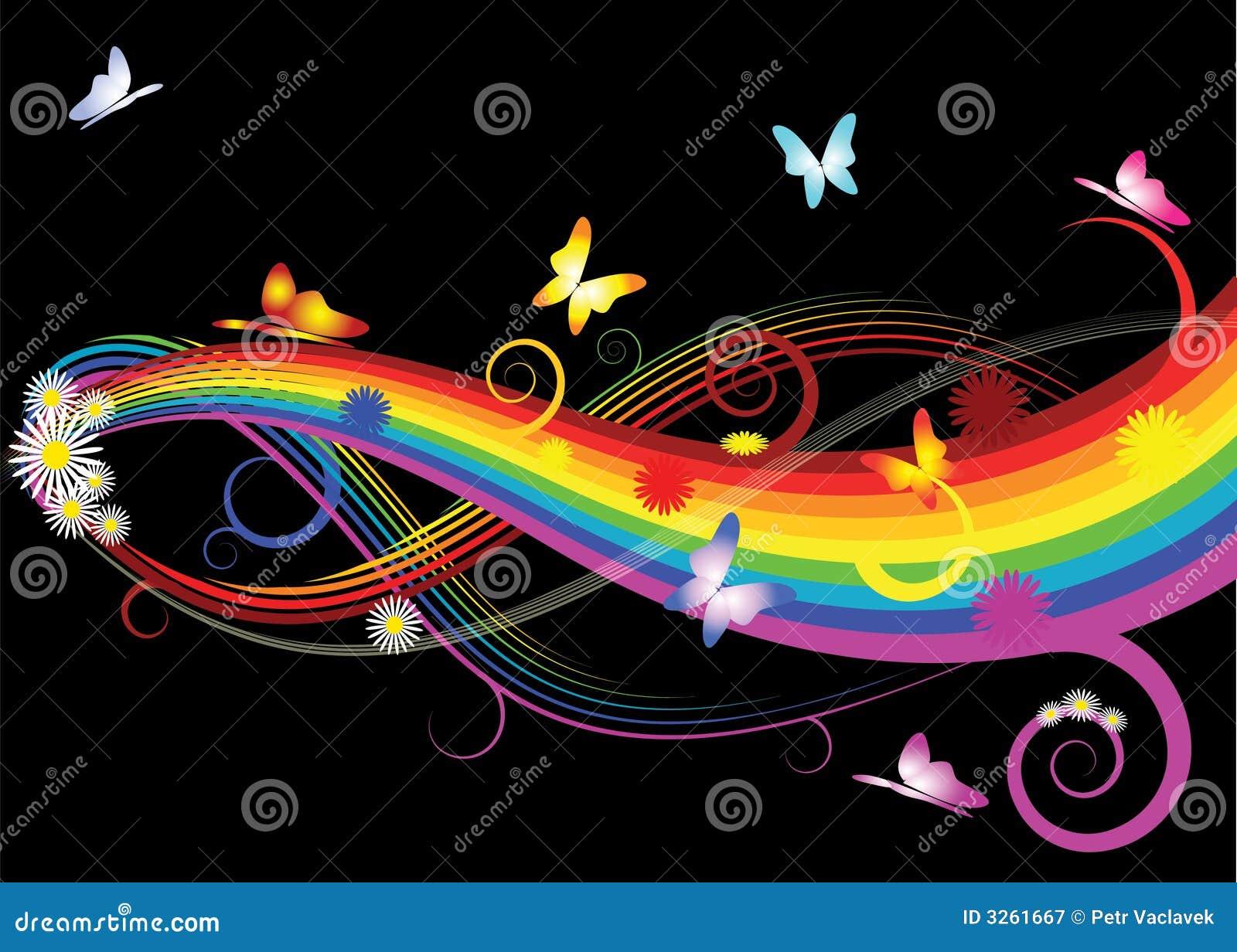 Regenbogen mit blumen vektor abbildung bild von for Regenbogen dekoration