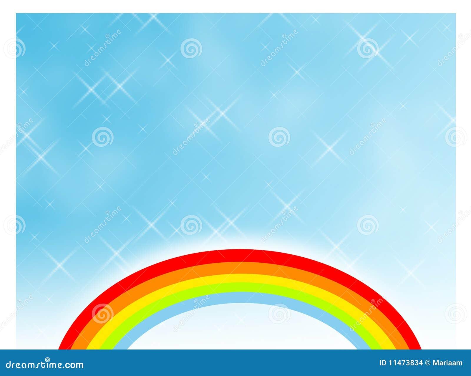 Regenboog in een fonkelende hemel