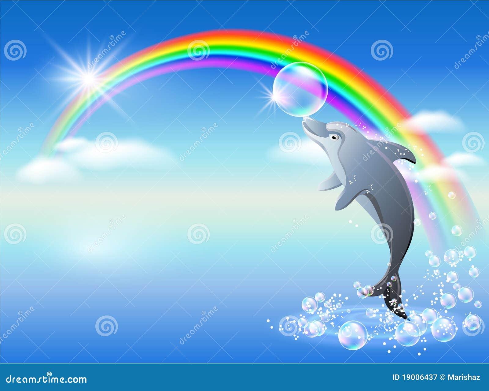 Regenboog En Dolfijn Royalty-vrije Stock Fotografie ...