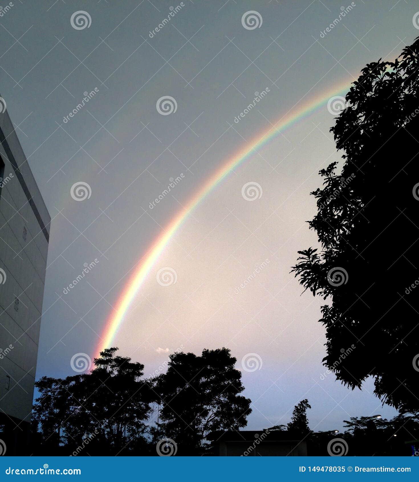 Regenboog in het midden van de nacht