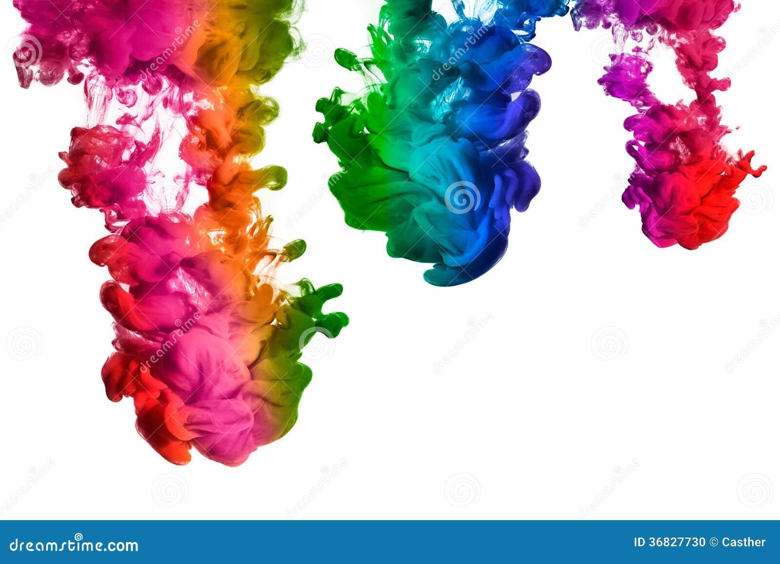 Regenboog van Acrylinkt in Water. Kleurenexplosie