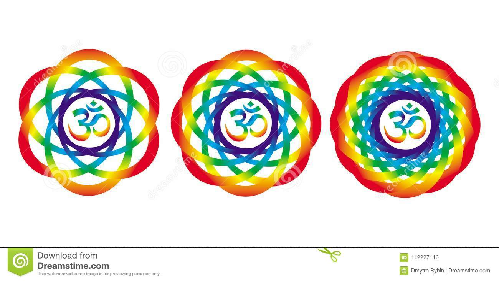 Regenboogmandala met een teken van Aum Om Abstract artistiek voorwerp
