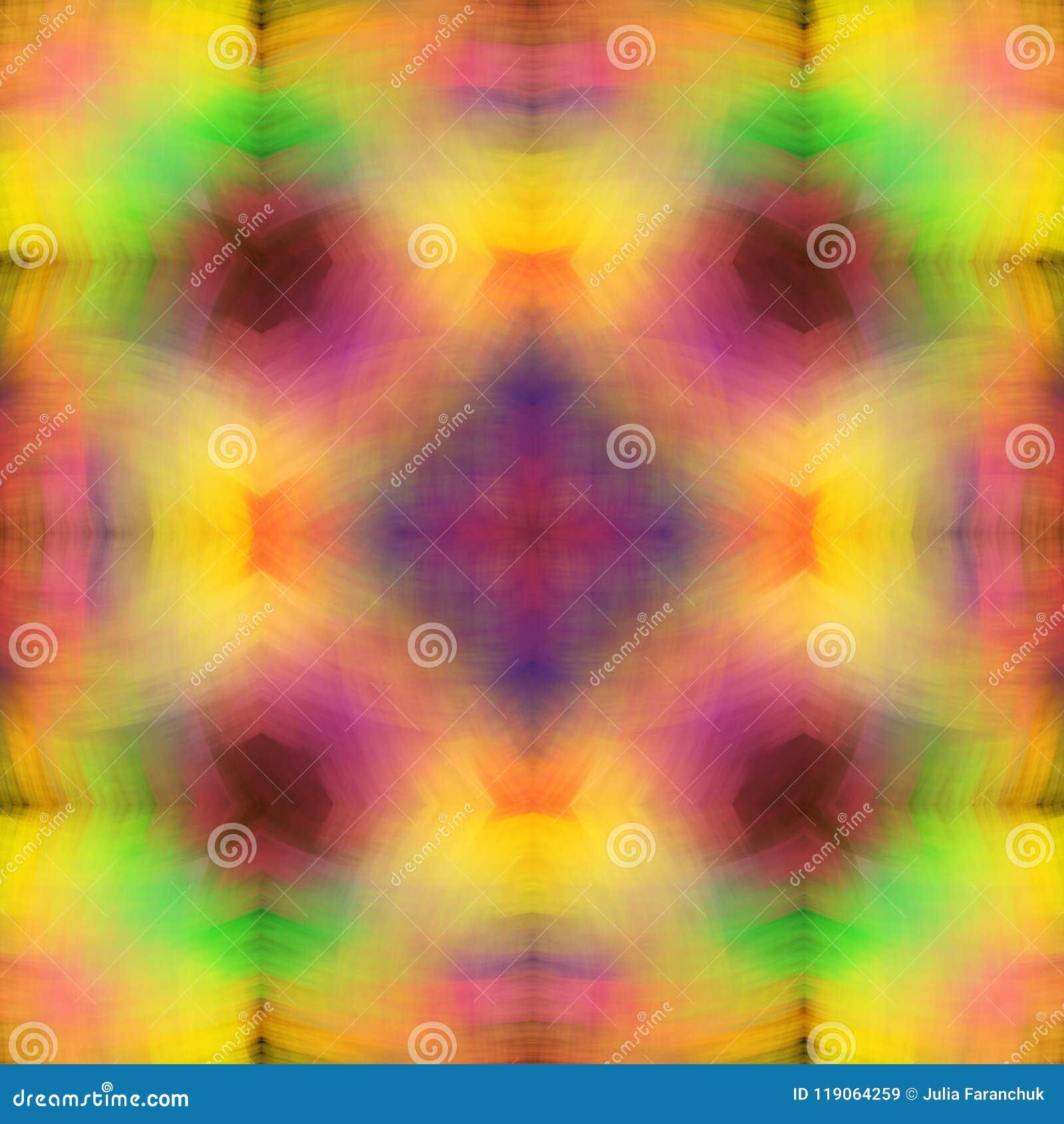 Regenboogstructuur van zachte, gesmeerde slagen Heldere Multicolored Achtergrond Fractal abstractie Symmetrische vierkante naadlo