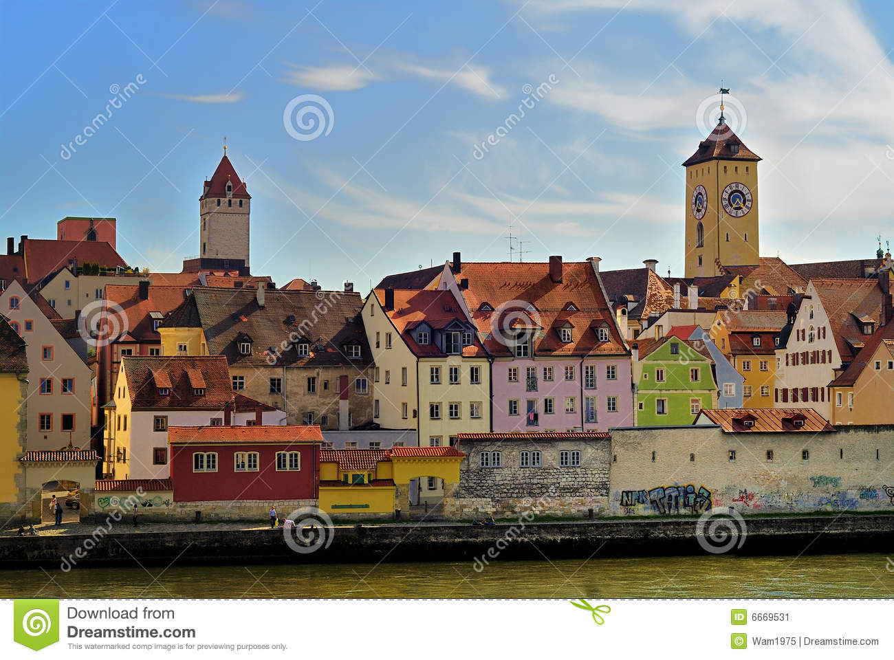 Traditional colorful architecture of buildings in Regensburg, Germany.