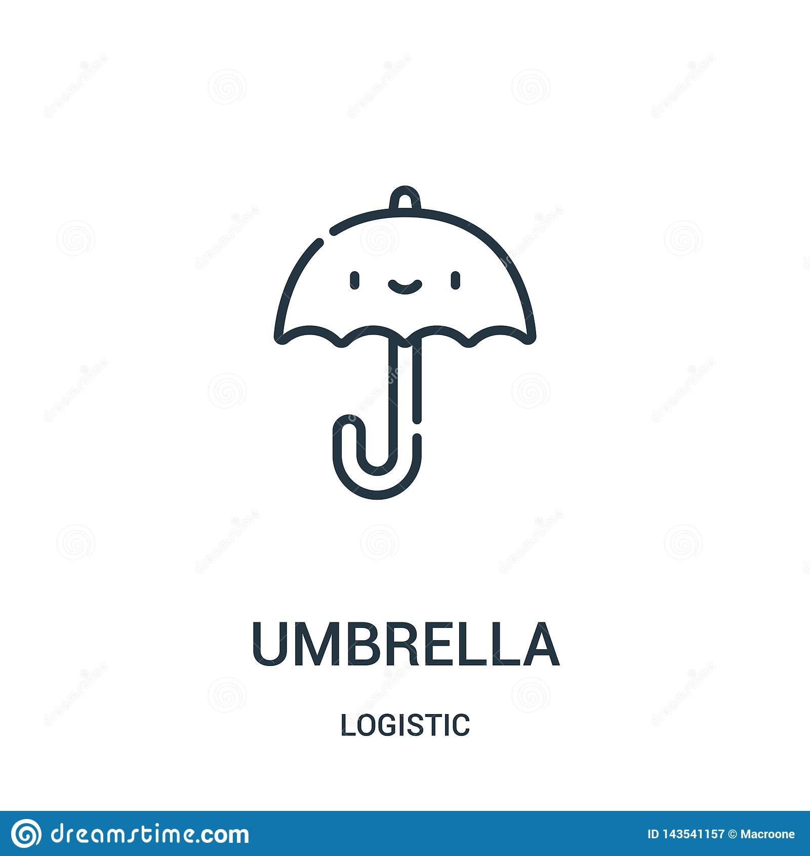 Regenschirmikonenvektor von der logistischen Sammlung Dünne Linie Regenschirmentwurfsikonen-Vektorillustration