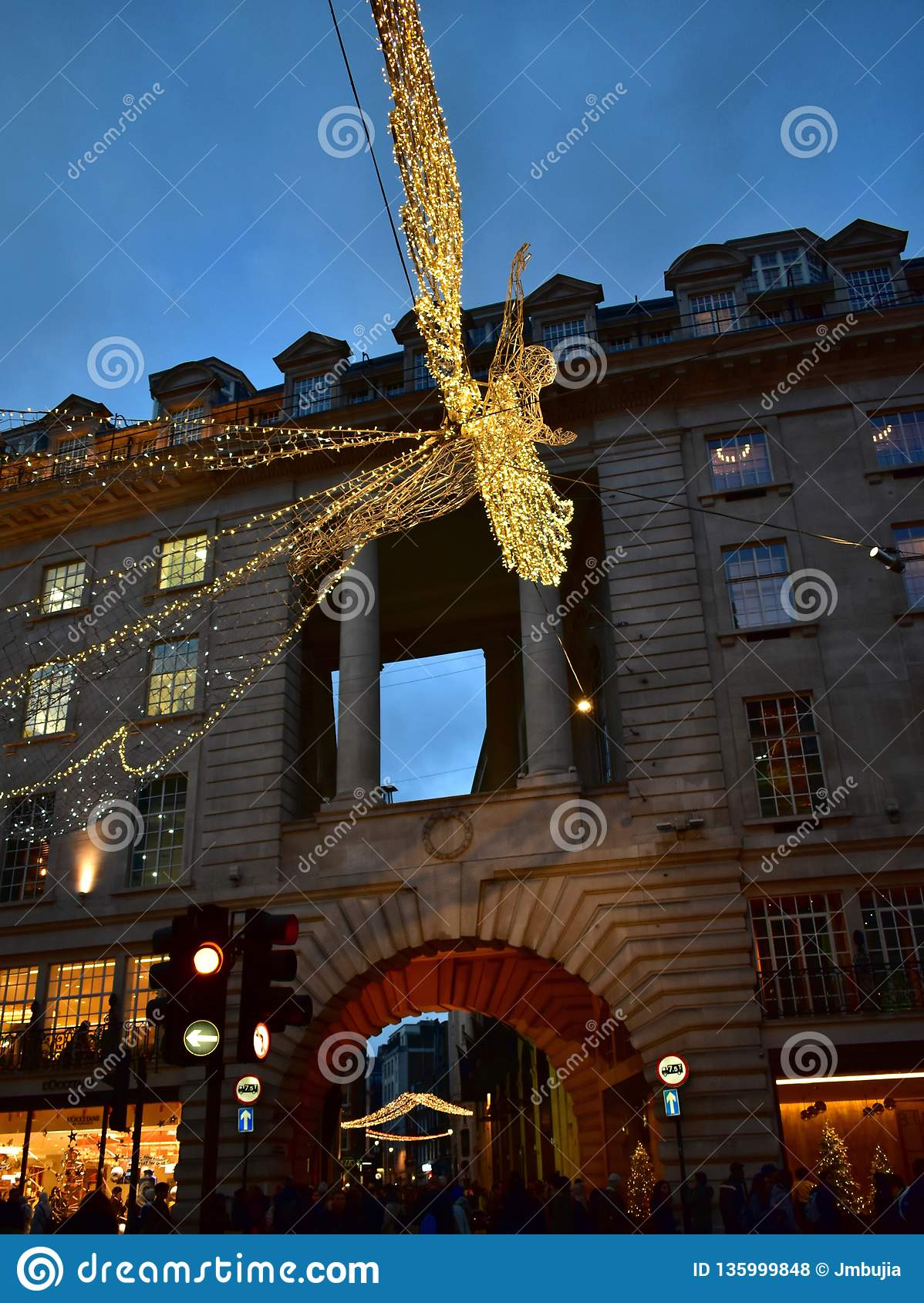 United Kingdom Christmas.Regent Street With Christmas Lights Crowded With People