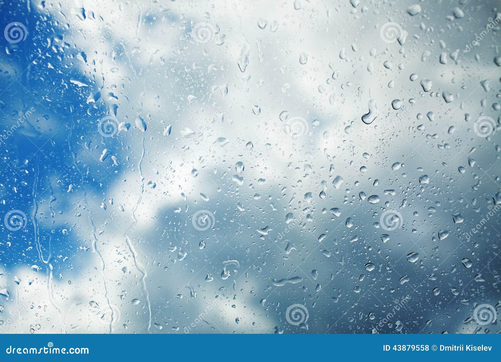 Regentropfen, Die Hinunter Die Fensterscheibe Laufen ...
