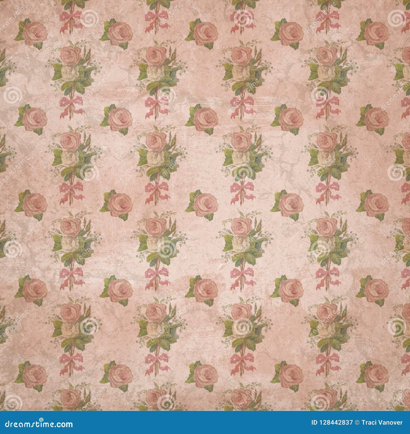 Regentschafts-Ära - Jane Austen Inspired - Weinlese-schäbiges schickes Rosen-Muster - Digital-Papierhintergrund - Rosen - Stolz u
