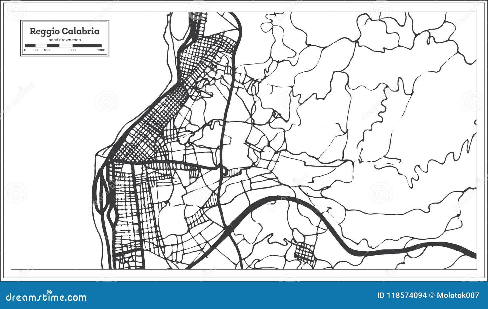 Reggio Calabria Italy City Map In Retro Style. Outline Map. Stock ...