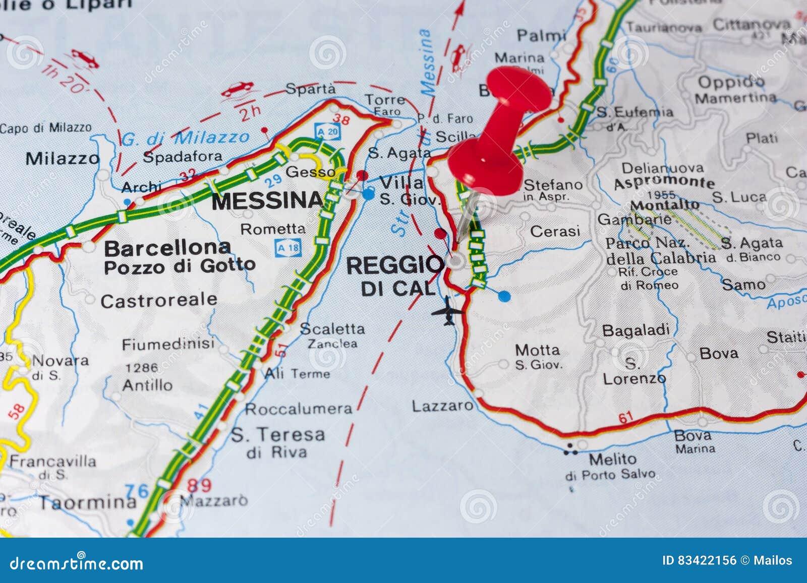 Reggio Calabria Italy On A Map Stock Illustration - Illustration of ...