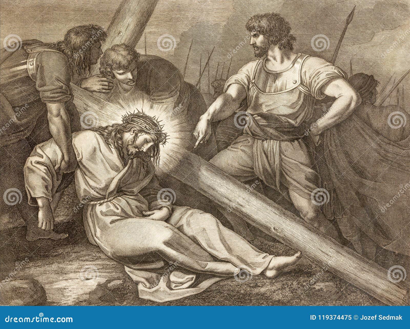 Reggio Emilia - la litografía de la caída de Jesús bajo manera cruzada cruzada en los di Santo Stefano de Chiesa de la iglesia