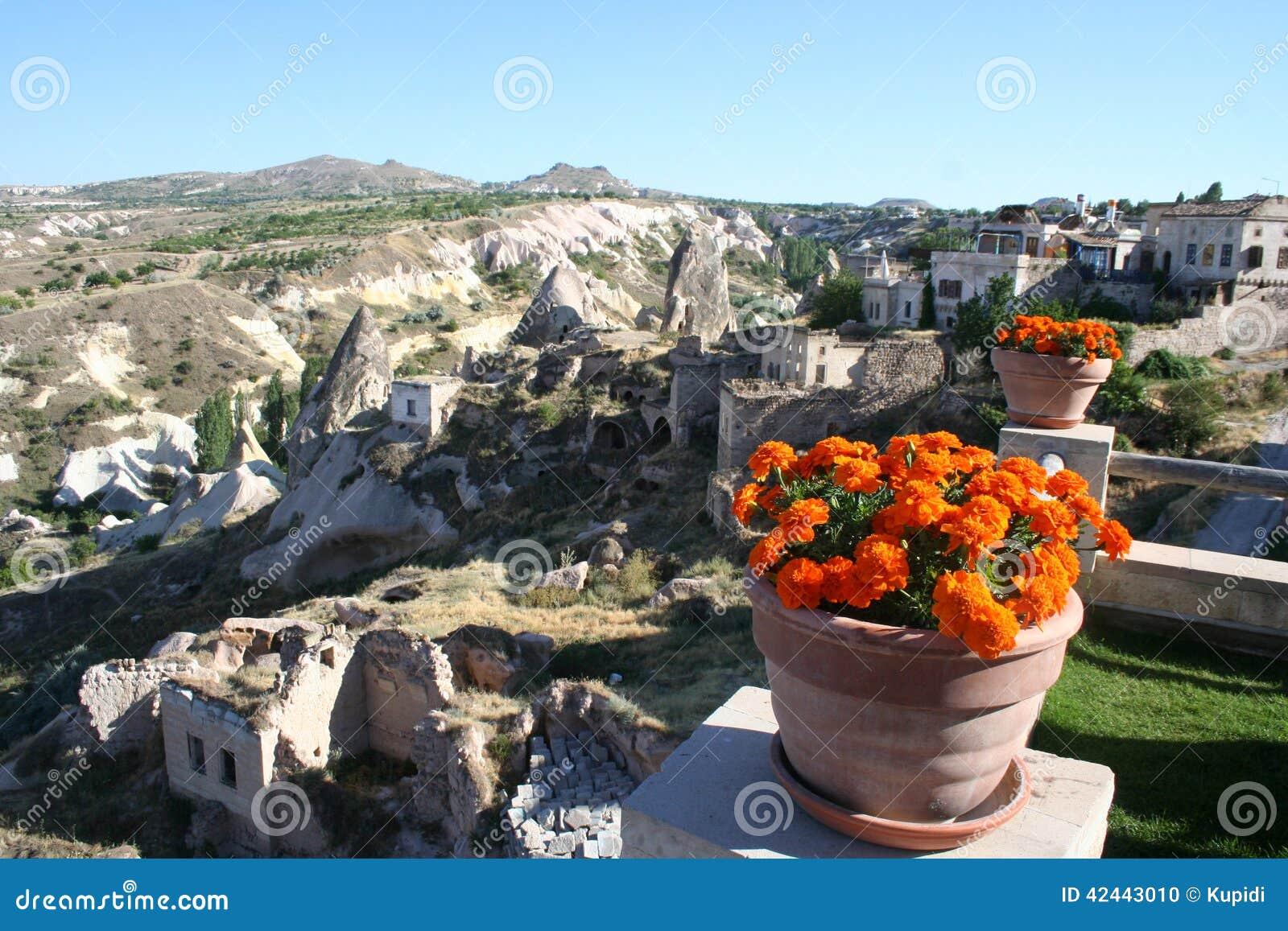 Región de Cappadocia y las flores
