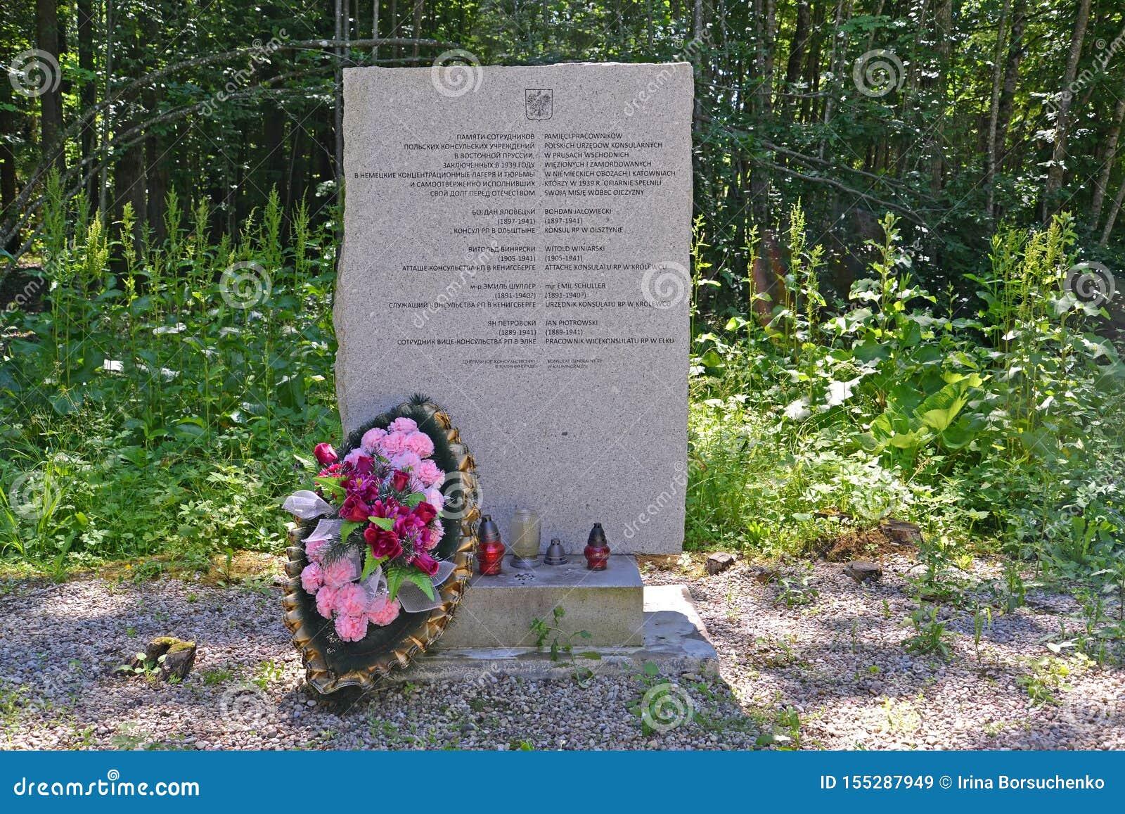 Regi?n de Kaliningrado, Rusia Un stele en memoria del personal del consulado polaco que murió en el campo de concentración Hokhen