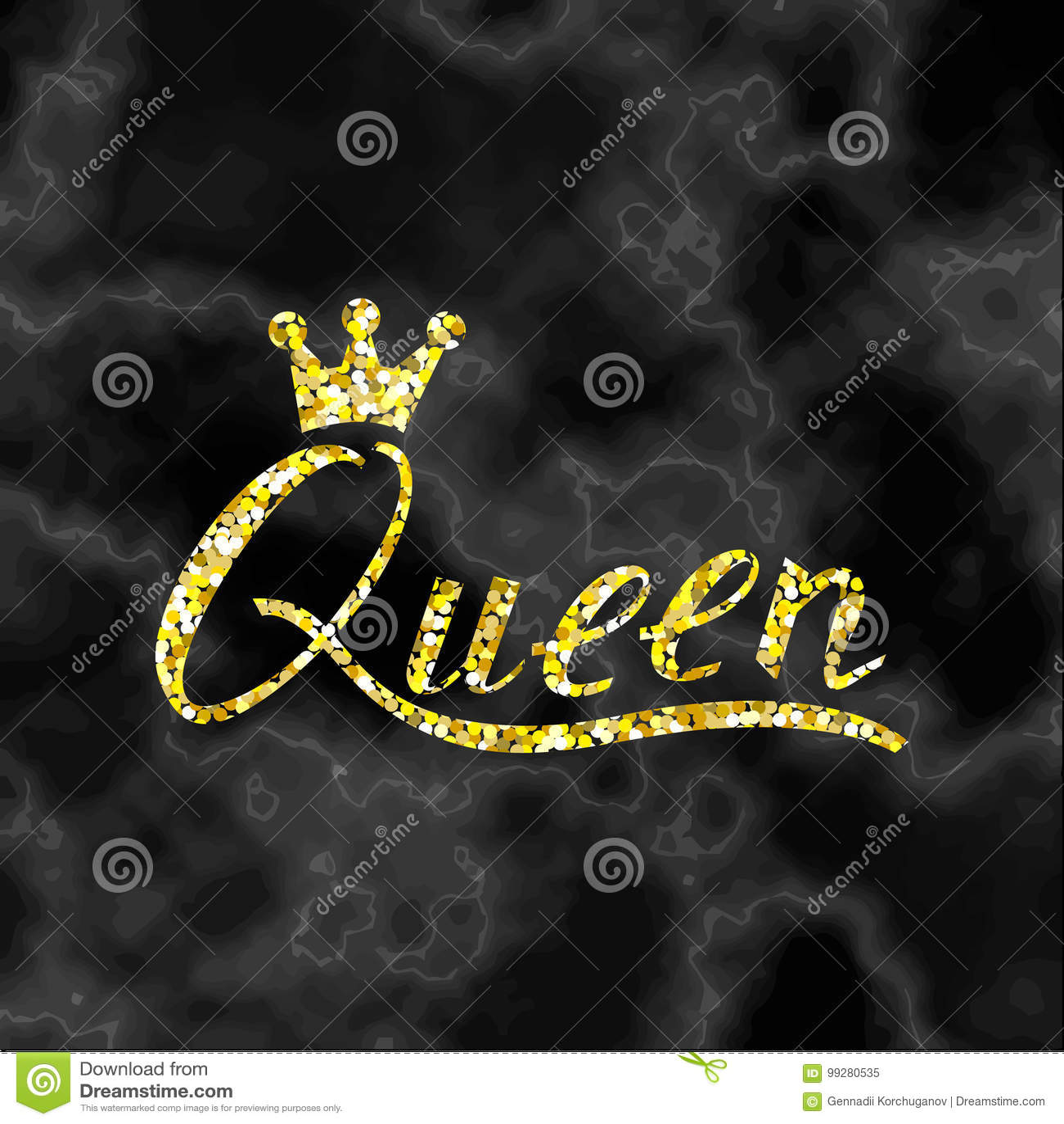 Regina Della Spazzola Delliscrizione Delloro Su Marmo Nero