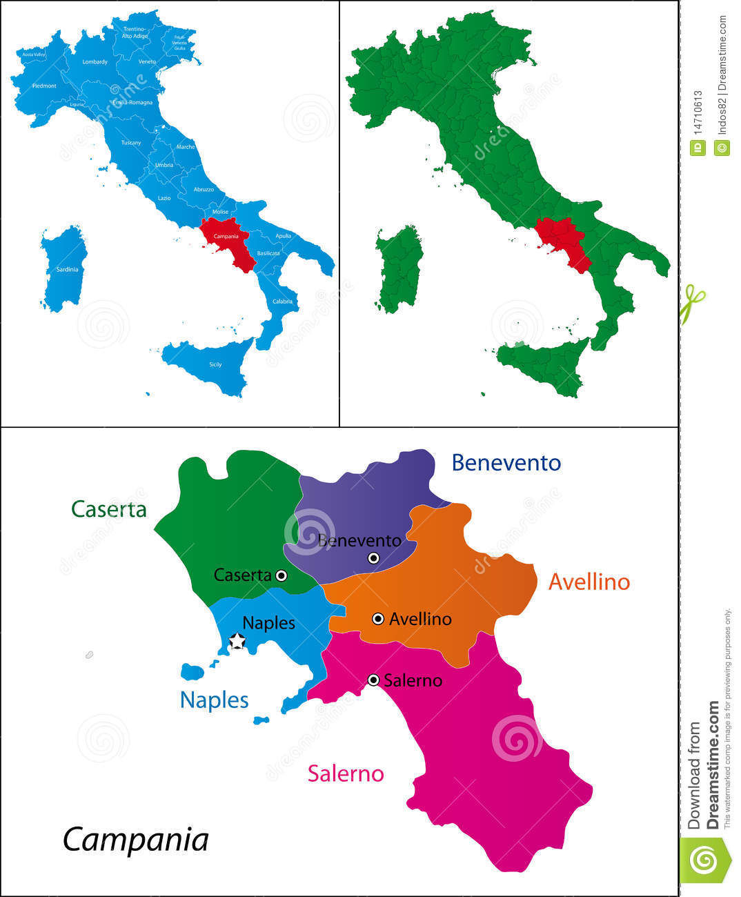 Region of Italy - Campania stock vector. Illustration of geography ...