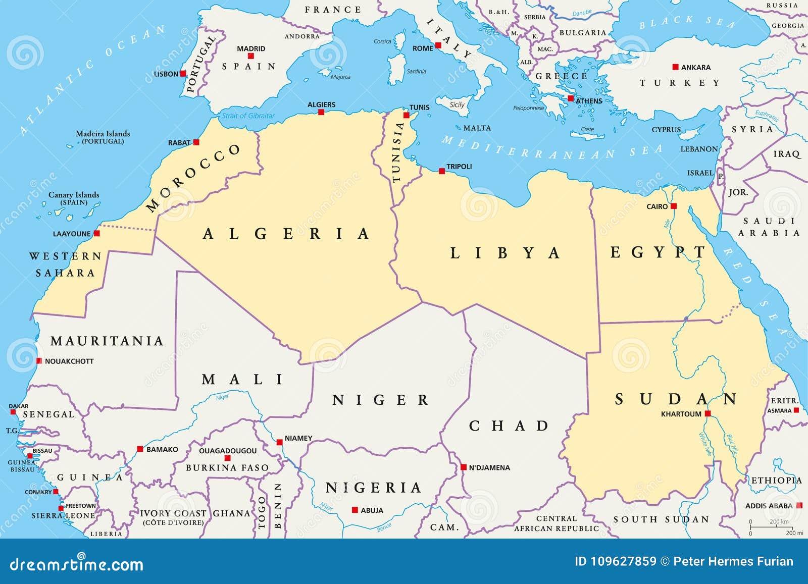 Cartina Fisica Dell Africa Settentrionale.Regione Del Nord Africa Mappa Politica Illustrazione Vettoriale