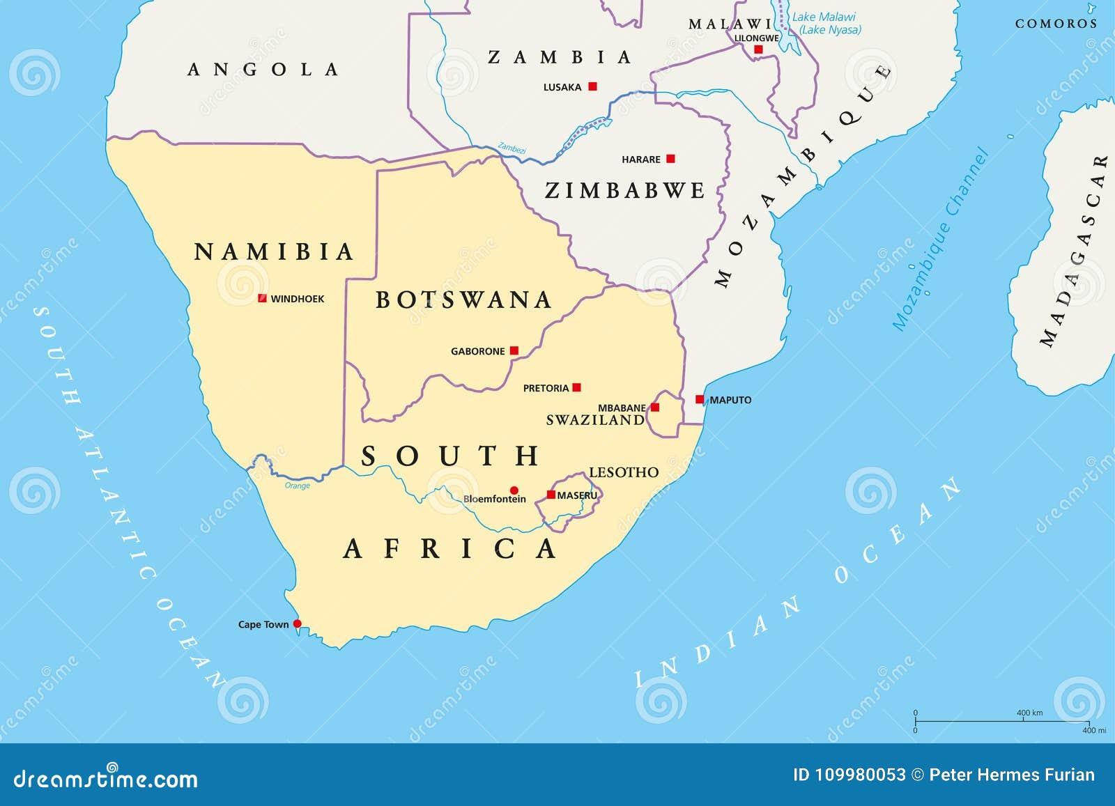 Cartina Africa Sud.Regione Dell Africa Meridionale Mappa Politica Illustrazione Vettoriale Illustrazione Di Southern Swaziland 109980053