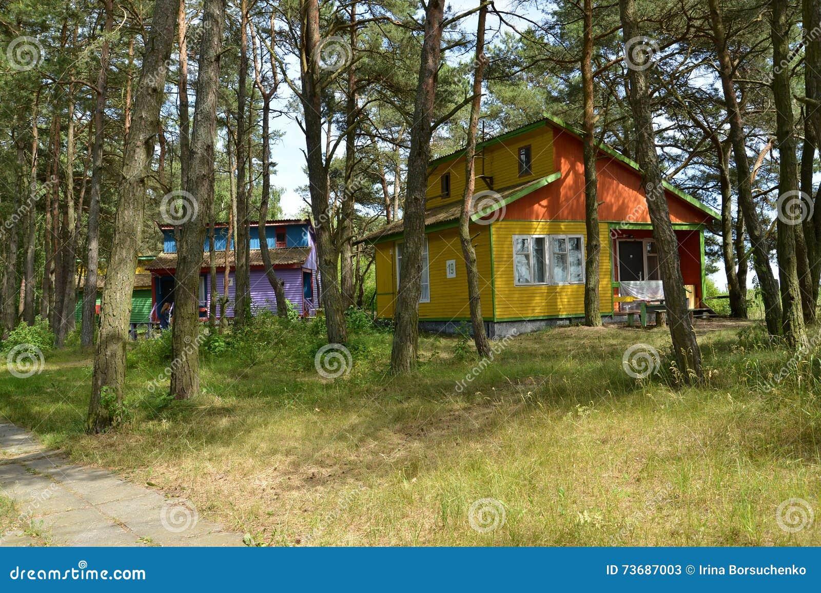 Regione Di Kaliningrad Russia Casette Di Estate Nel Legno Di Pino