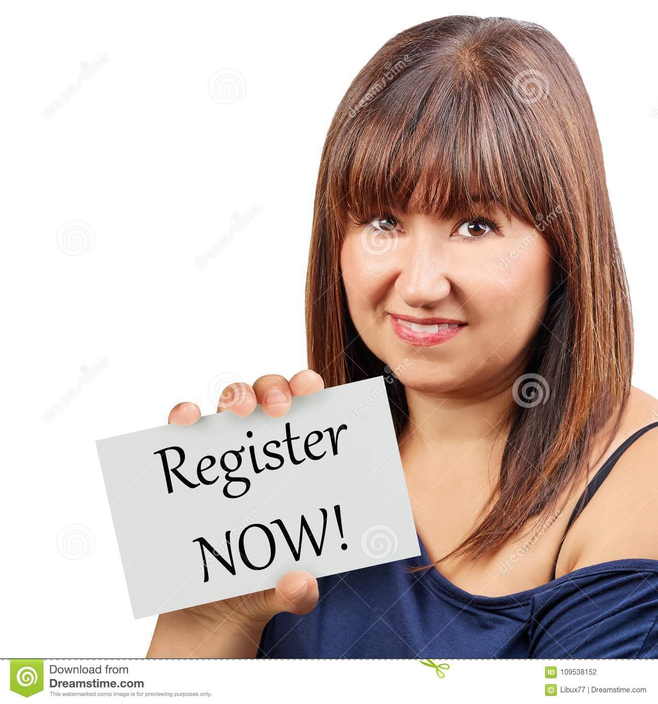 Register now card held by brunette woman isolated