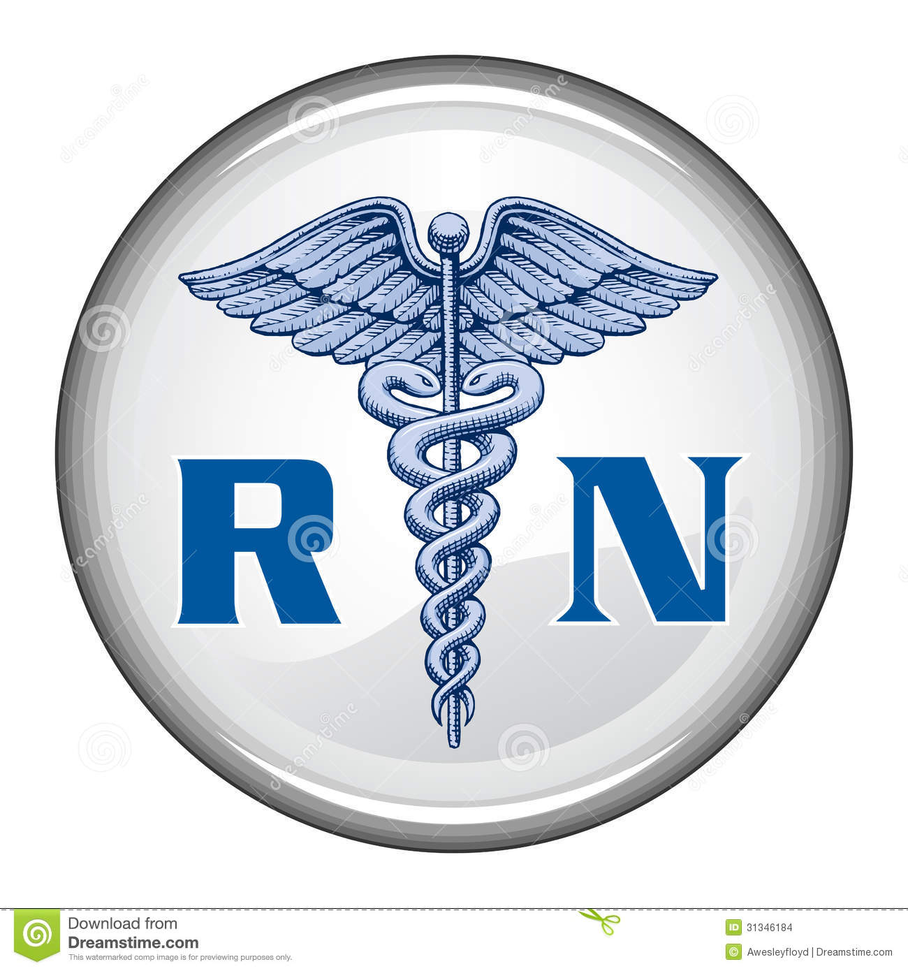 Registered Nurse Button Stock Vector Illustration Of Button 31346184