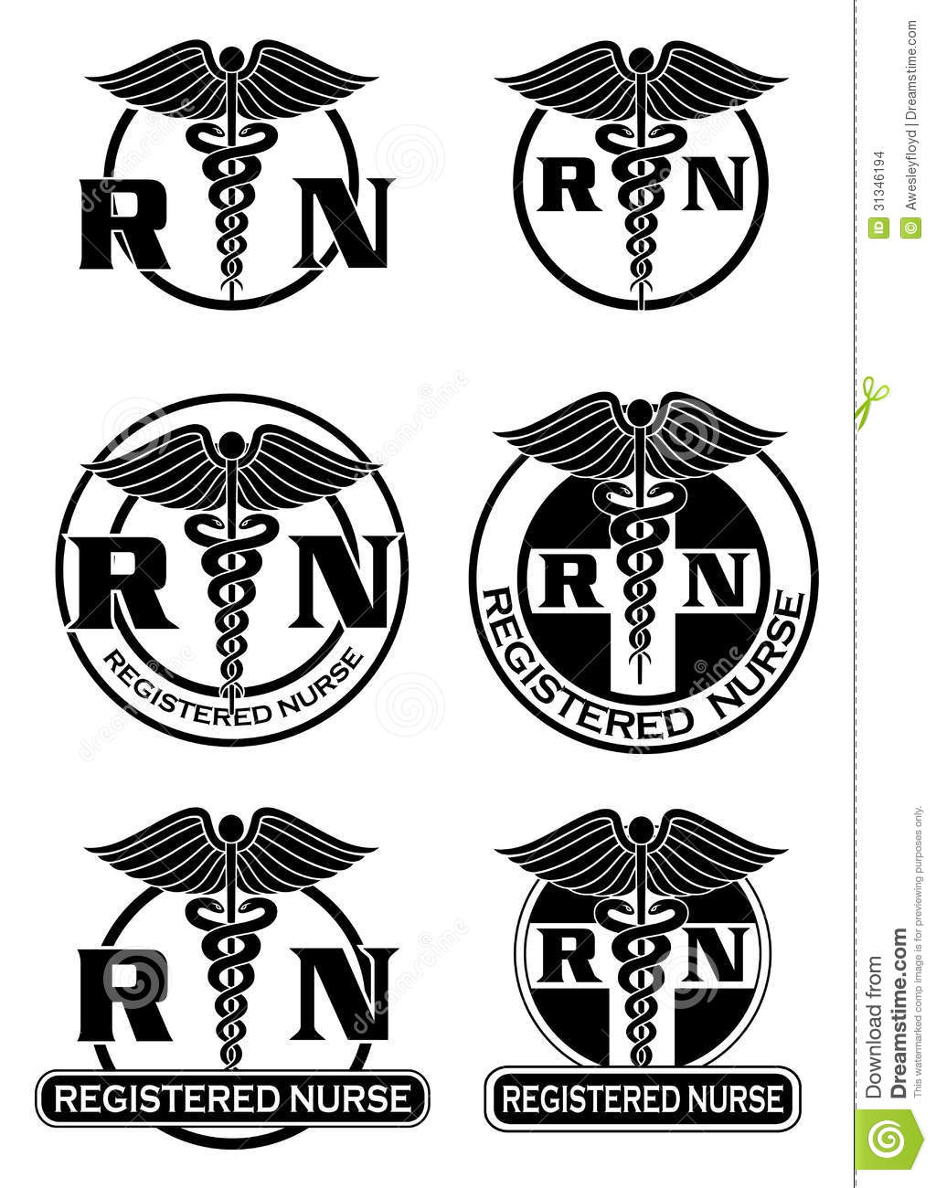 Registered Nurse Designs Graphic Style Stock Vector Illustration
