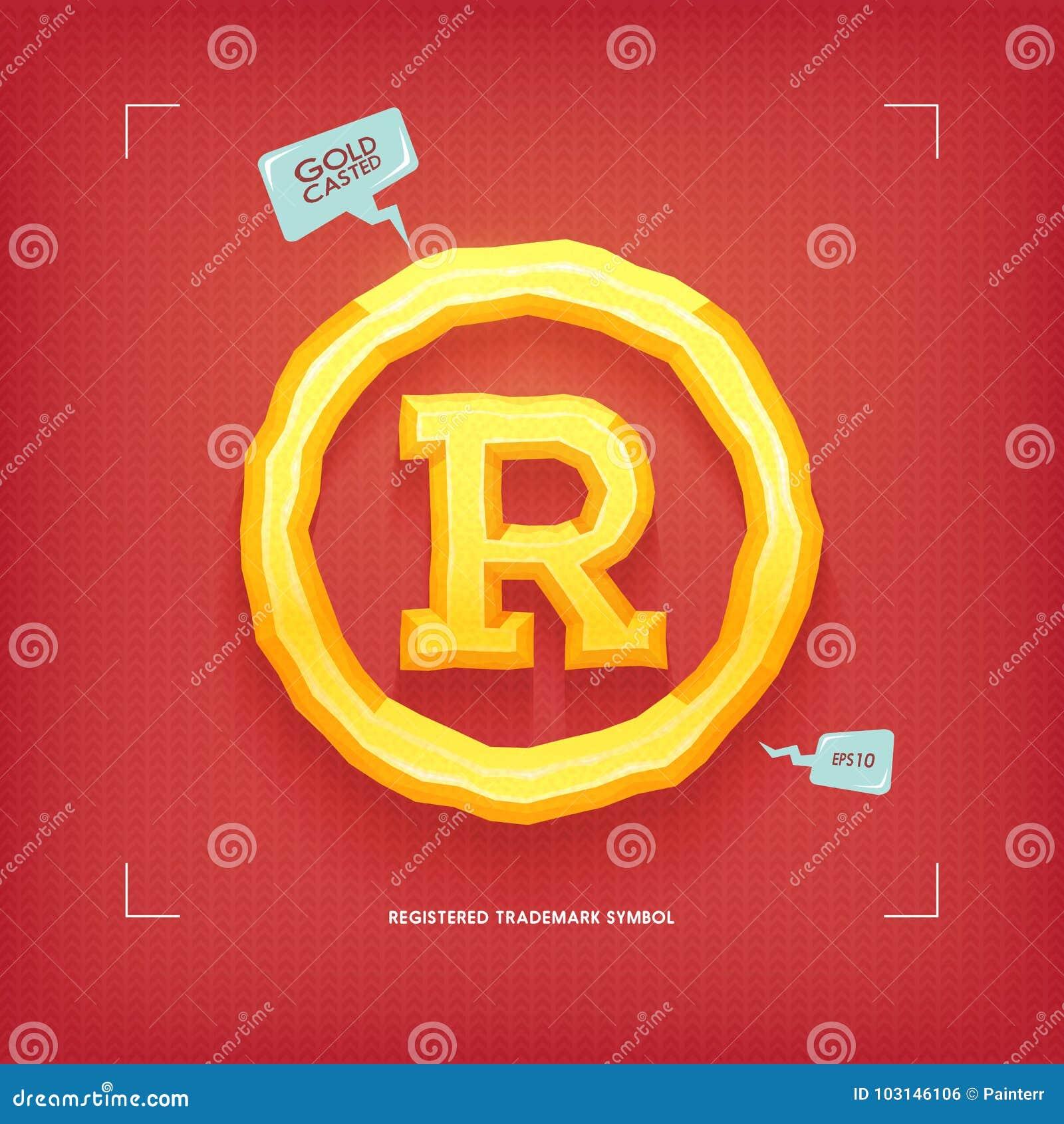 Registered Trademark Symbol Golden Jewel Typeface Element Gold