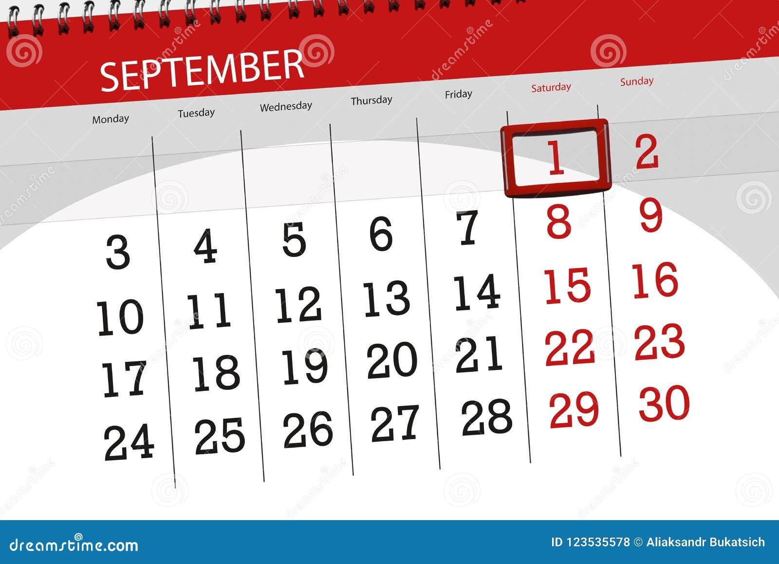 Registi il pianificatore per il mese, il giorno della settimana, 2018 settembre, 1, sabato di termine