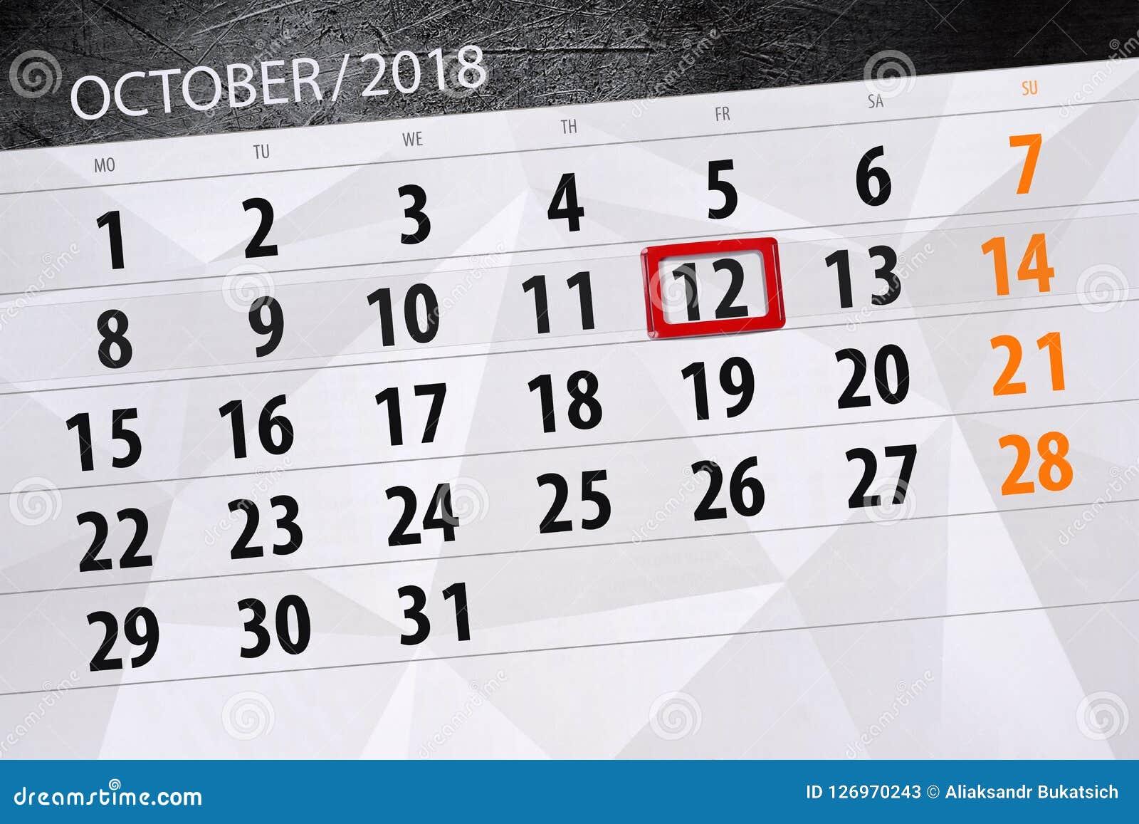 Registi il pianificatore per il mese, il giorno di termine della settimana 2018 ottobre, 12, venerdì