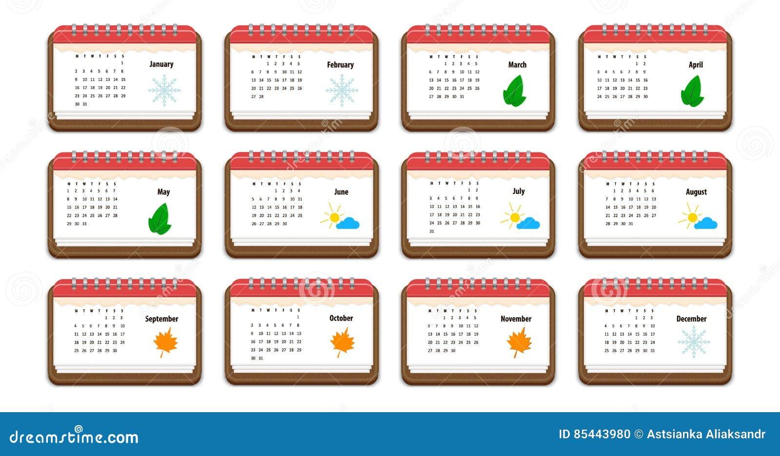 Registi l 39 icona con il nome dei mesi dei giorni della - Immagine dell albero a colori ...