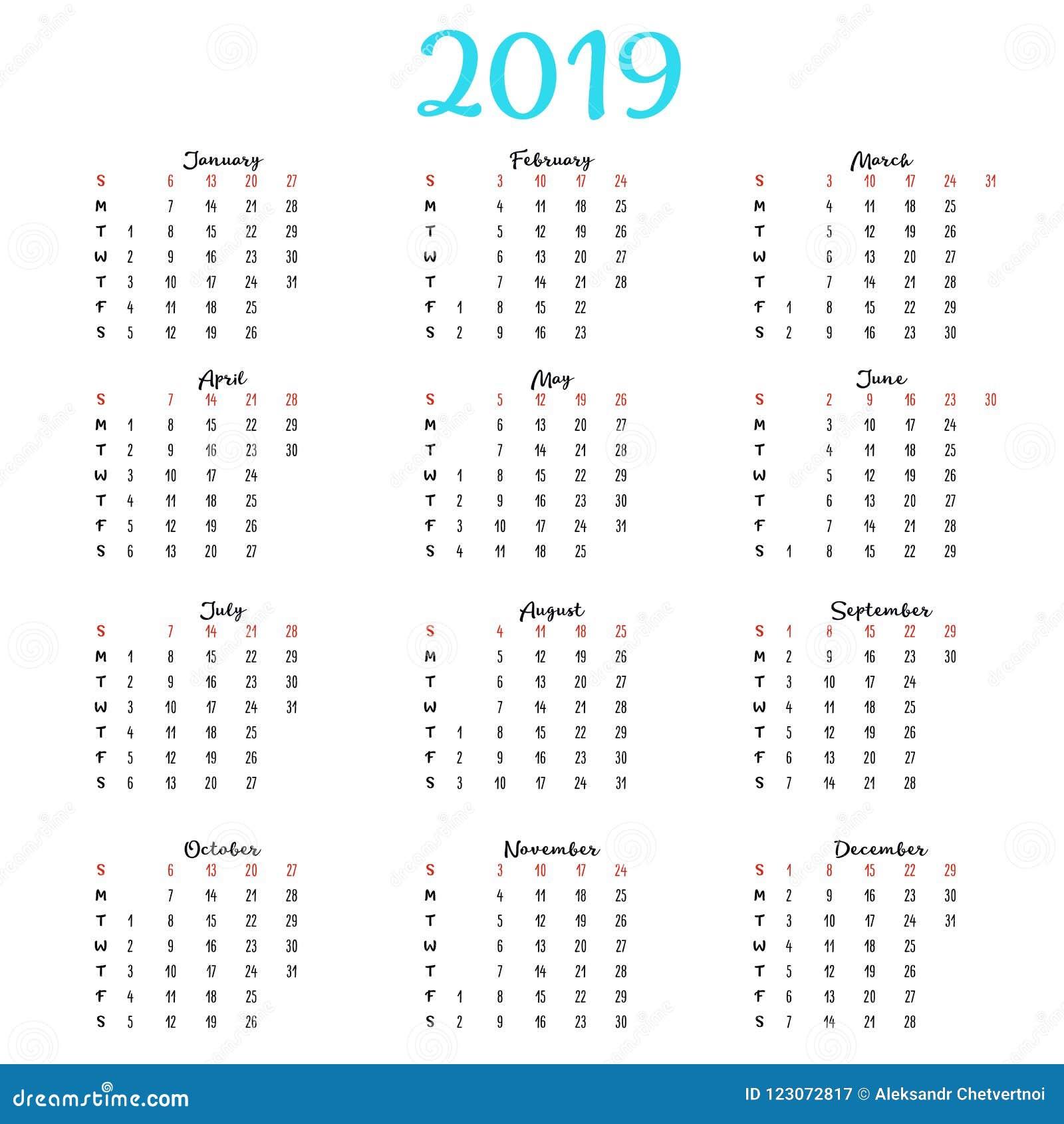 Calendario 2020 Editabile.Registi 2019 Settimana Parte Da Domenica Modello Di Affari