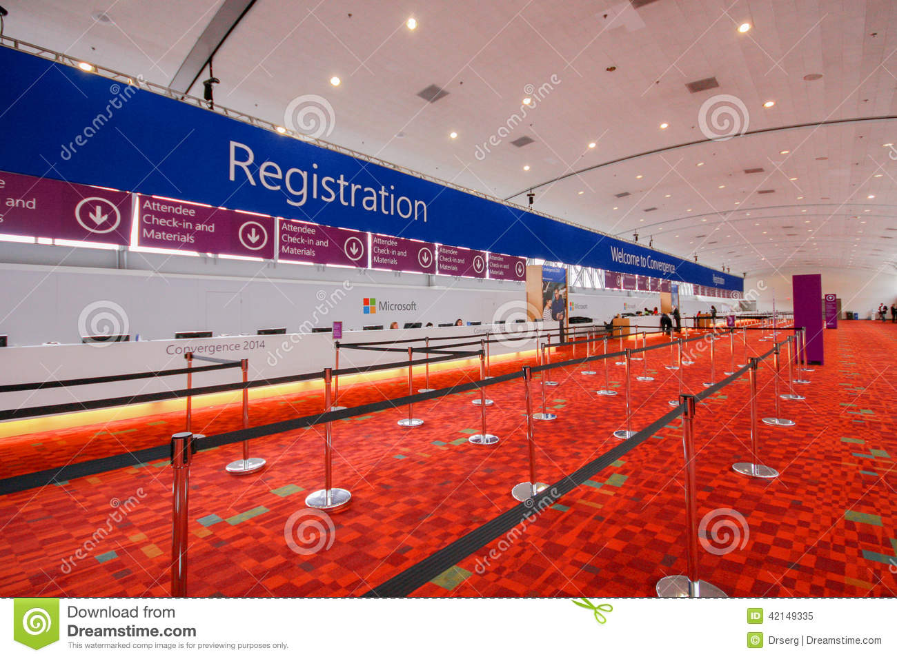 Registration Desk On The Eve Of Opening Microsoft Convergence Conference Editorial Image Image