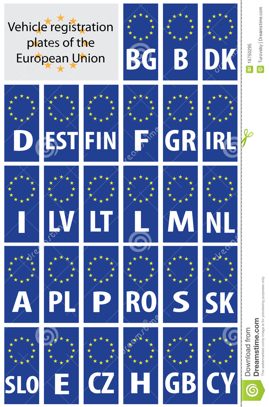 registration plates of eu royalty free stock photo