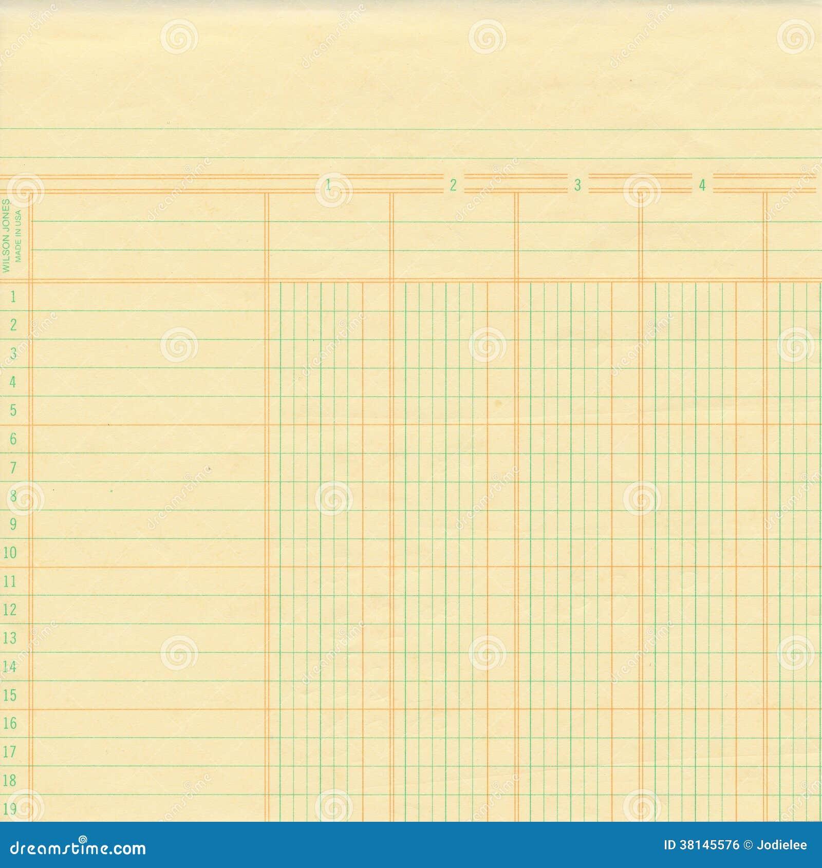 Registre de vintage ou papier de graphique jaune