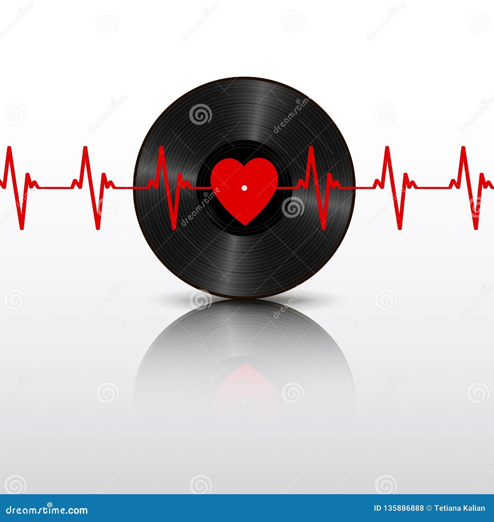 Registro de vinil preto realístico com etiqueta do coração, cardiograma e reflexão de espelho vermelhos