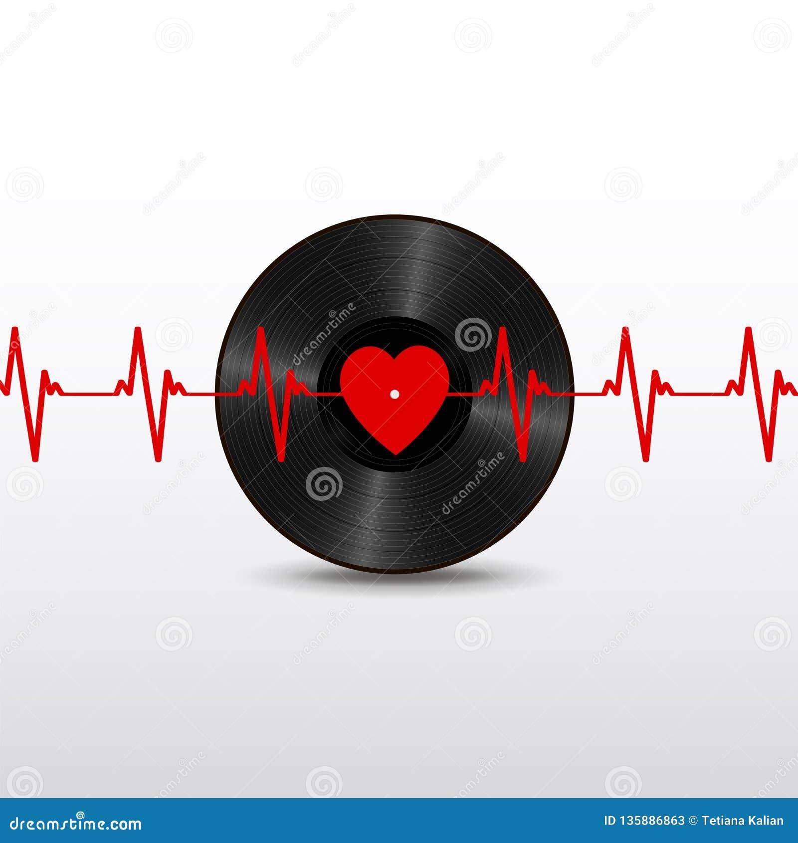 Registro de vinil preto realístico com etiqueta vermelha do coração, e cardiograma isolado no fundo branco