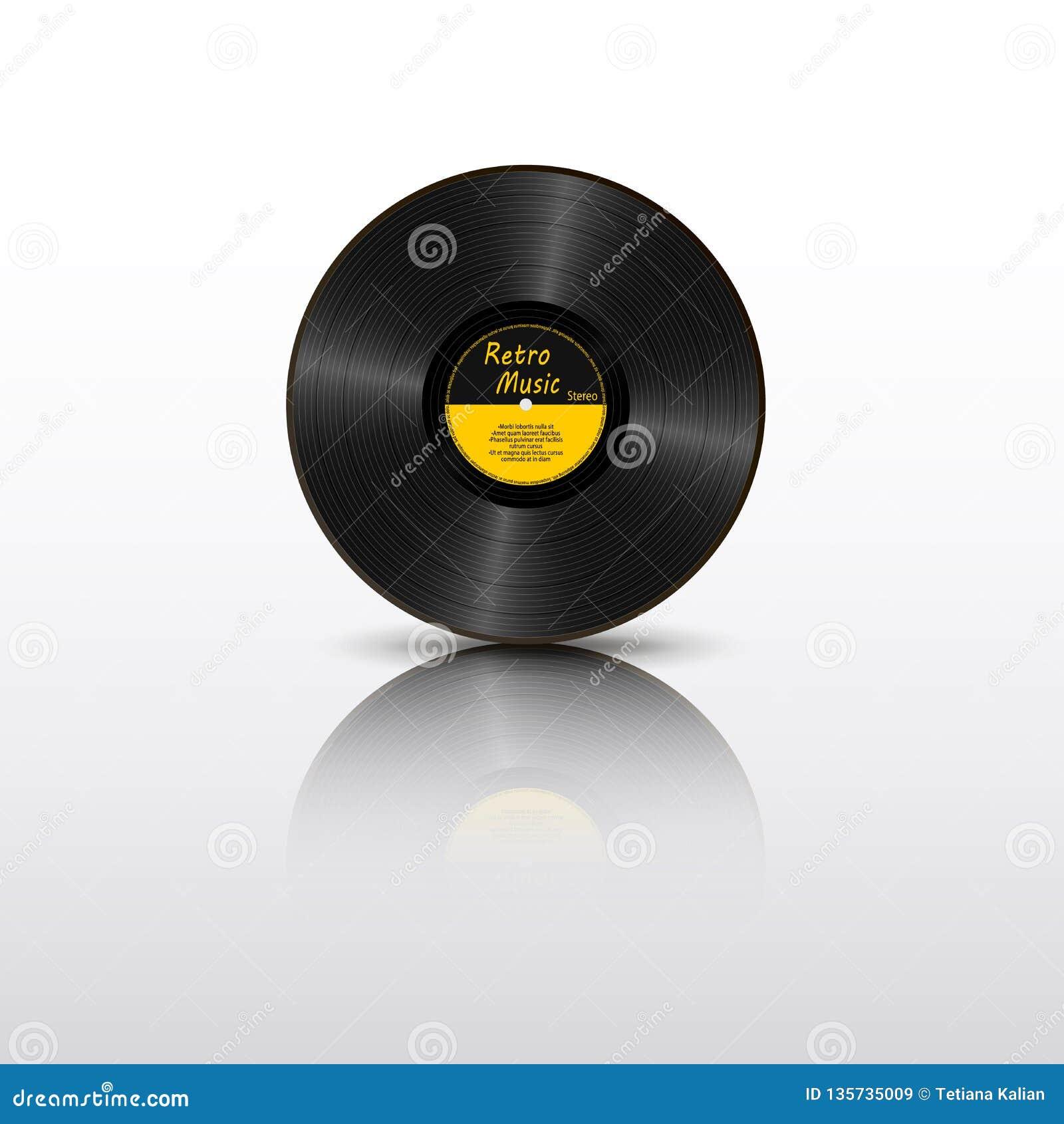 Registro de vinil preto realístico com reflexão de espelho Portador sadio retro Registro amarelo de LP da etiqueta com texto Jogo