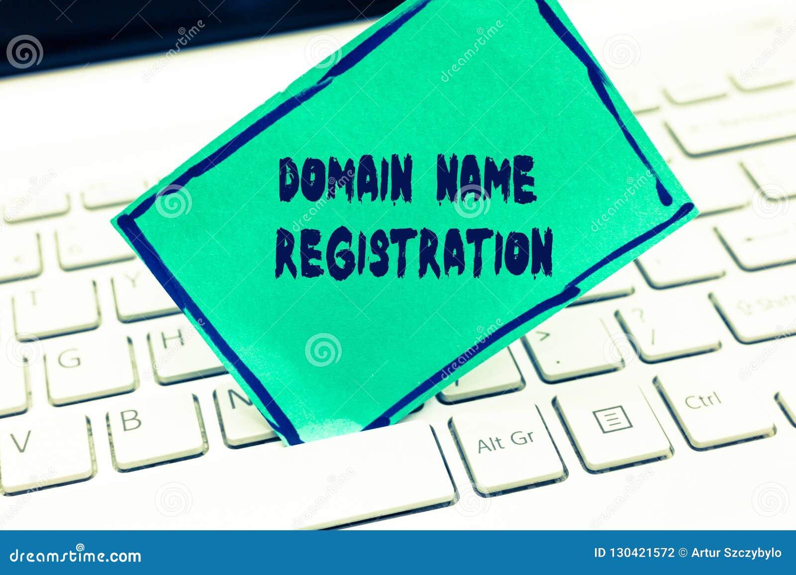 Registro del Domain Name del texto de la escritura de la palabra El concepto del negocio para propio una dirección IP identifica