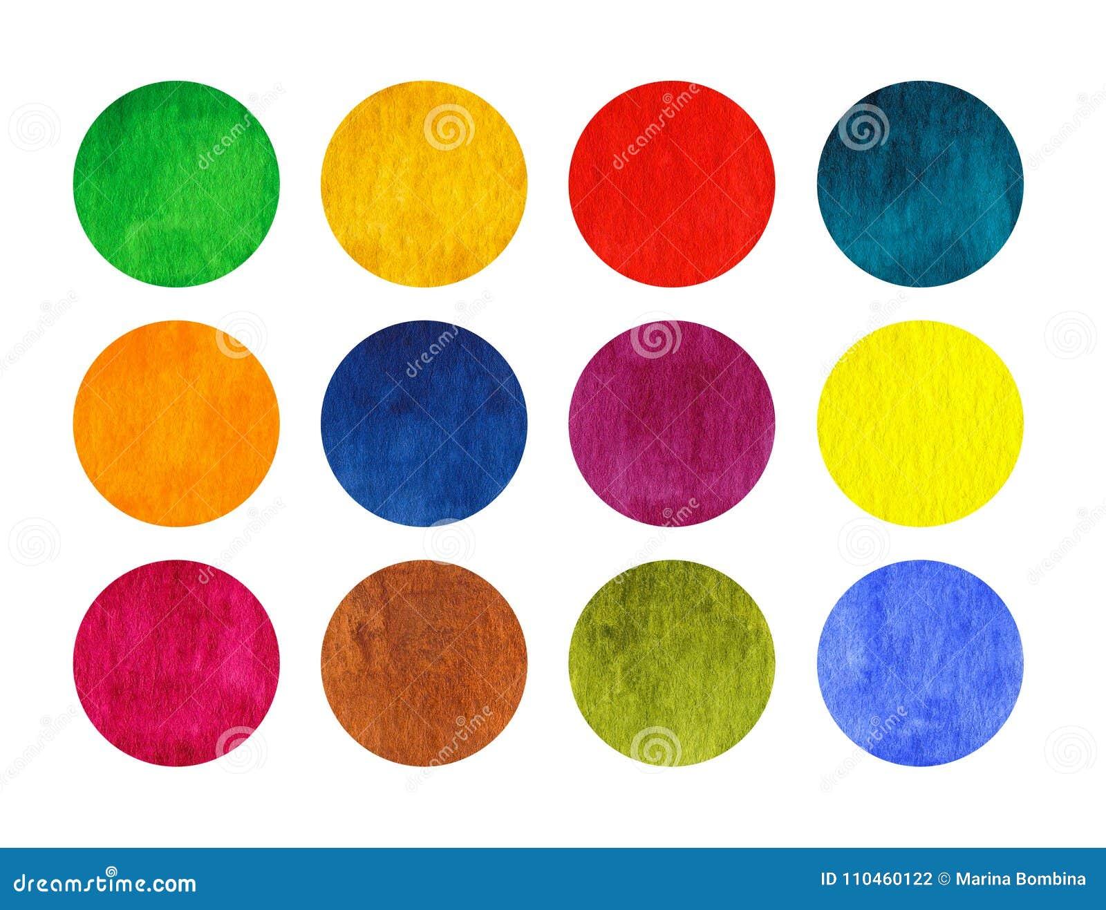 Regnbågevattenfärgcirklar som isoleras på vit bakgrund