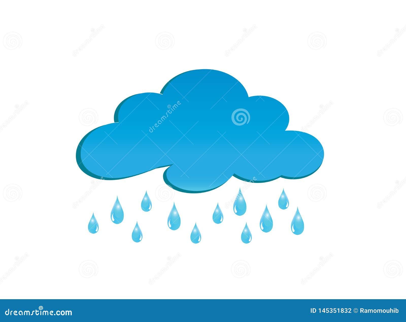 Regniga moln för logodesignillustratör, droppar av regnsymbolet