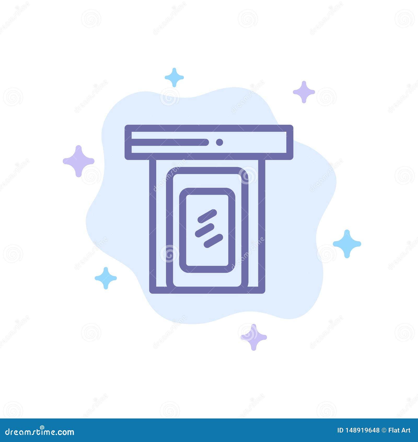 Regnigt moln, dörr, hem- blå symbol på abstrakt molnbakgrund