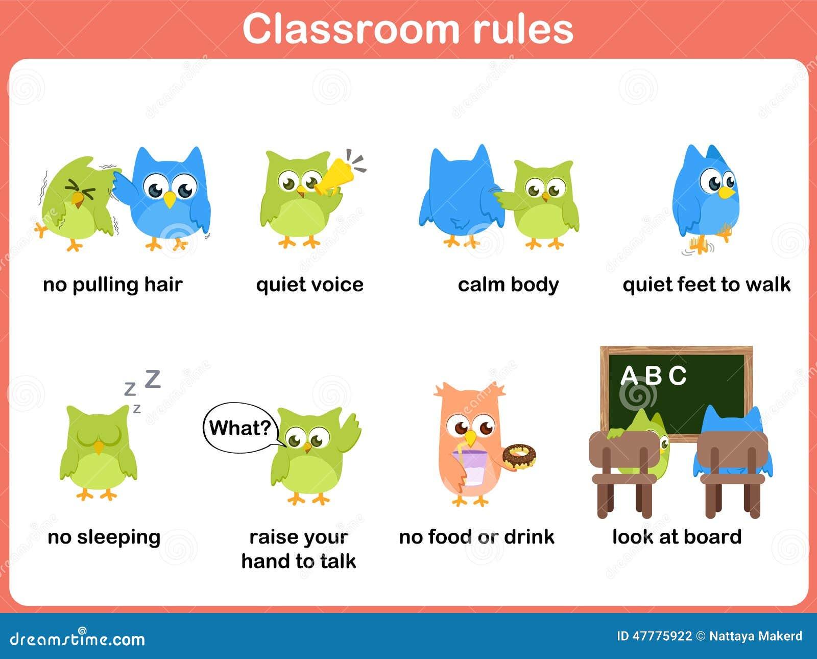 Regras da sala de aula para crianças
