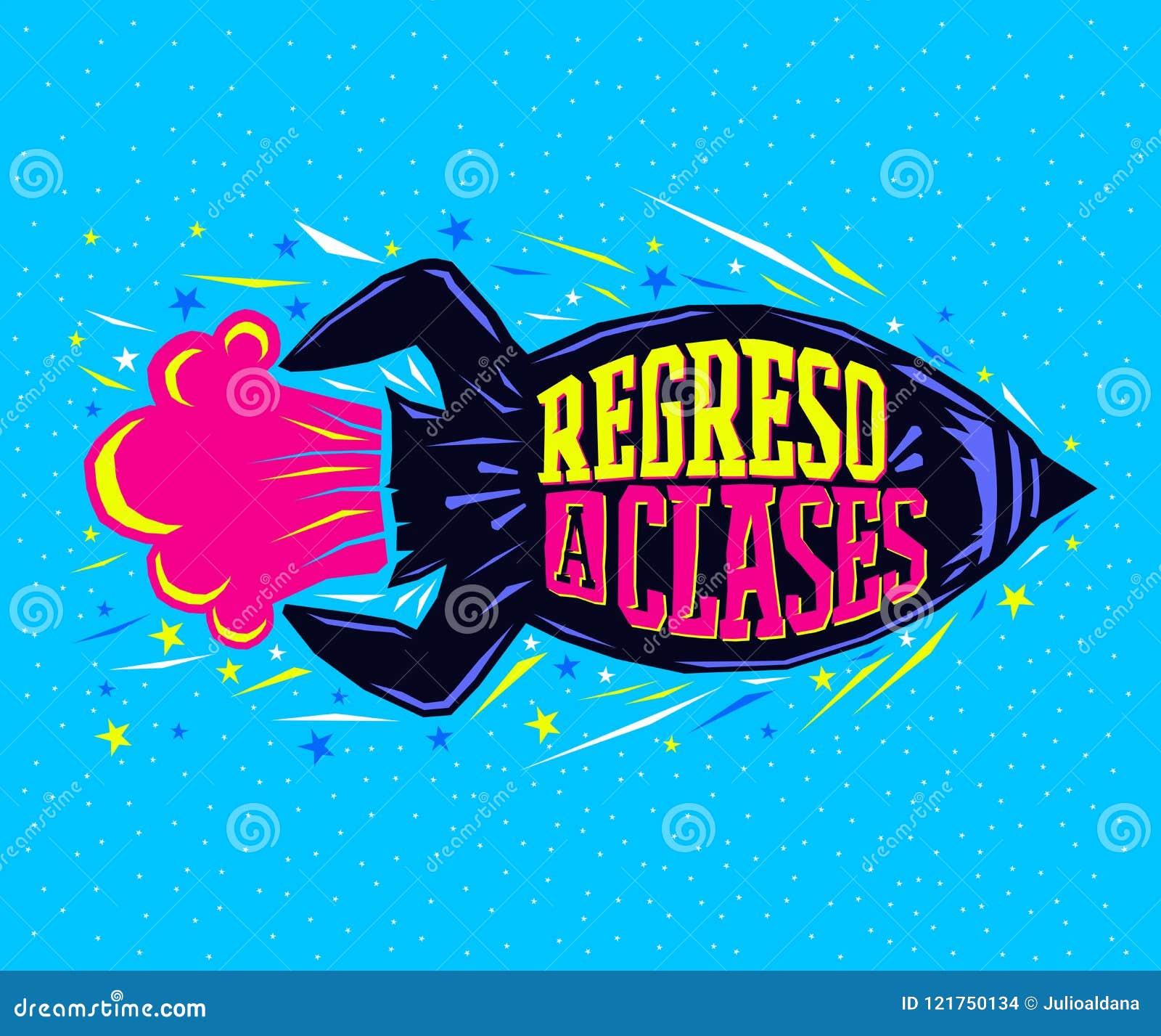Regreso clases, de nuevo al texto español de la escuela, lanzamiento del cohete de las letras del vector
