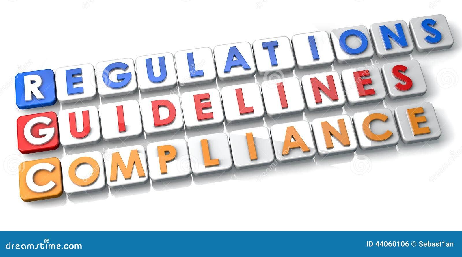 Regulamentos e diretrizes da conformidade