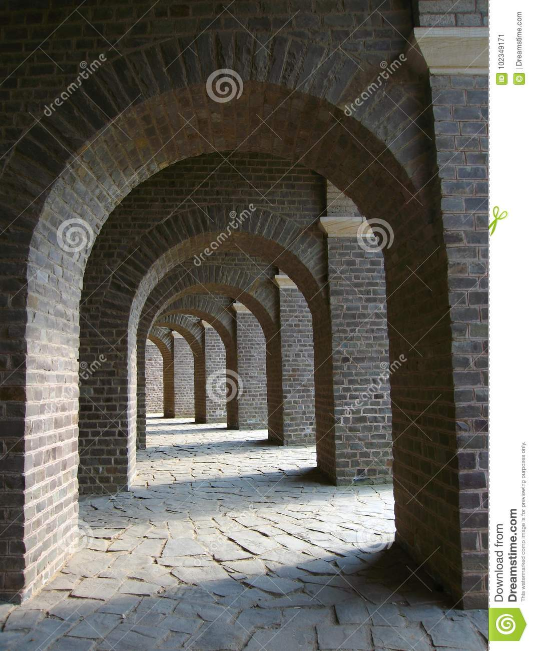 Arches of Roman Amphitheatre at Archaeological Park in Xanten, Germany