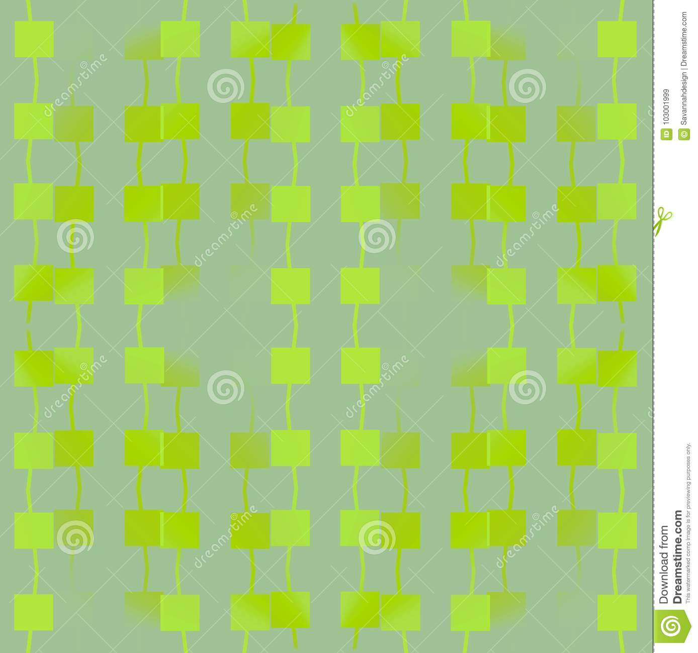 Regular Squares Pattern With Wiggly Lines Lemon Lime And Light Green ...